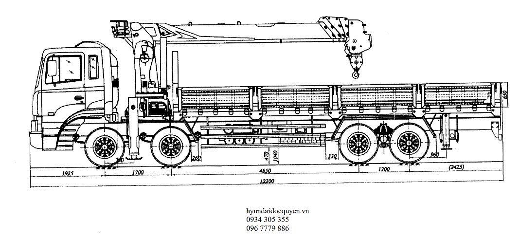 cẩu soosan 7 tấn gắn trên nền xe hyundai hd320 4 chân