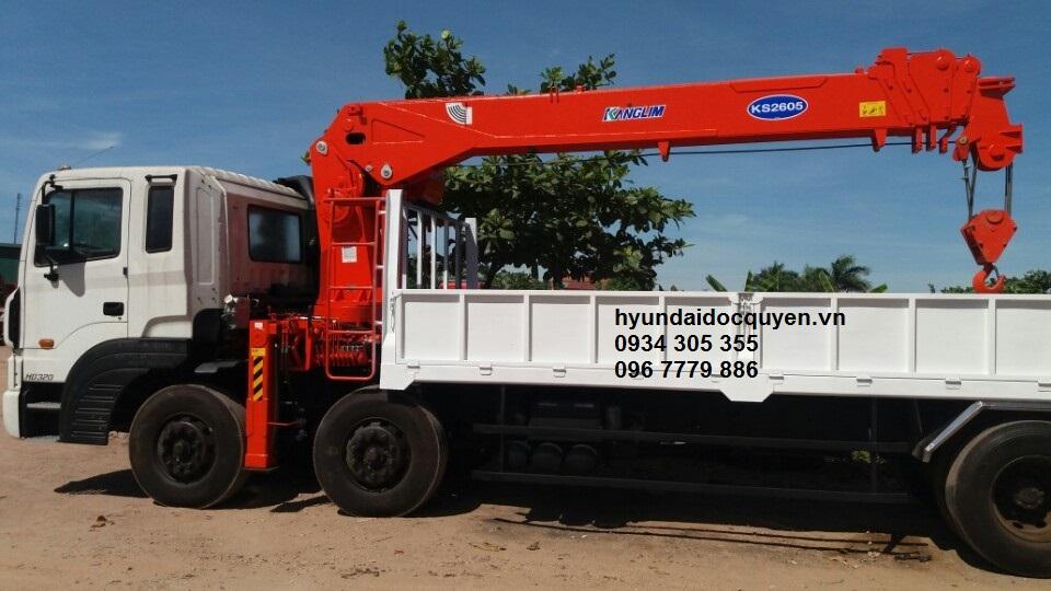 xe cẩu hyundai hd320 4 chân kanglim 10 tấn ks2605