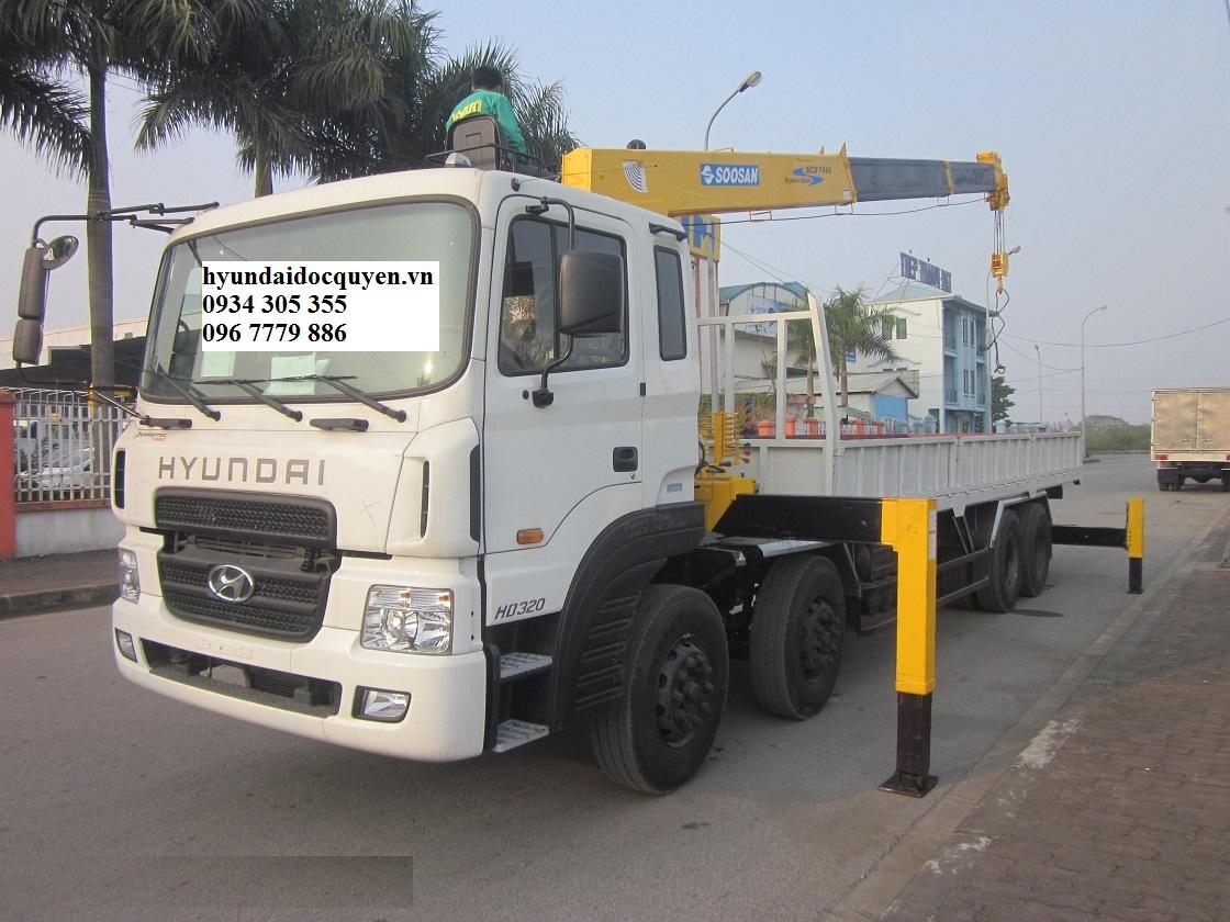 Xe tải Hyundai 4 Chân HD320 gắn cẩu 7 tấn Soosan SCS746