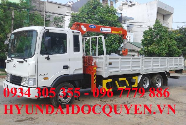 Xe tải Hyundai 3 chân HD210 gắn cẩu Kanglim 5 tấn 6 khúc