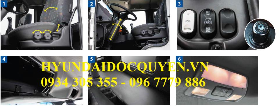 nội thất xe tải hyundai 3 chân hd360